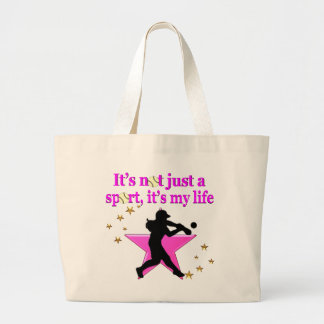 PINK SUPER STAR SOFTBALL IS MY LIFE DESIGN LARGE TOTE BAG