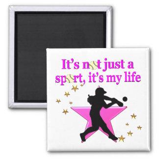 PINK SUPER STAR SOFTBALL IS MY LIFE DESIGN MAGNET