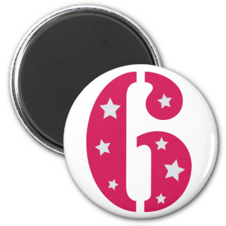 Pink Superstar 6 Birthday Magnet