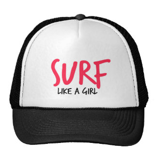 Pink Surf Like a Girl Trucker Hat