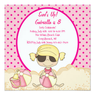 Pink Surfer Girl Beach Party Birthday Invitation