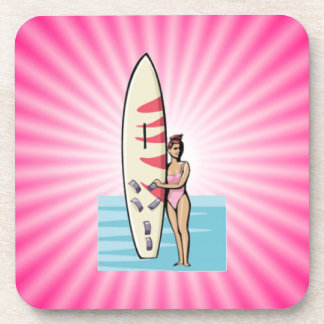 Pink Surfer Girl Beverage Coaster