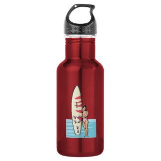 Pink Surfer Girl 18oz Water Bottle
