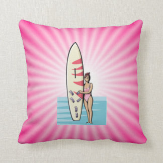 Pink Surfer Girl Pillows