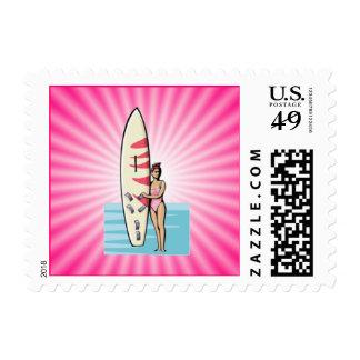 Pink Surfer Girl Stamps