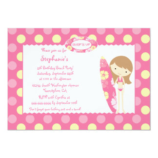 Pink surf's up swimming birthday party invitation
