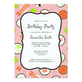 Pink Sushi Theme Birthday Party Card