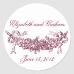 Pink Swag Romantic Stckers / Envelope Seals Round Sticker