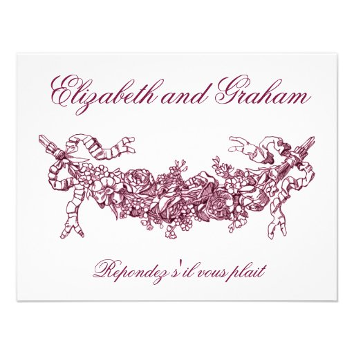 Pink Swag Wedding RSVP French Style Invite