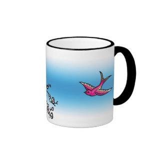 Pink Swallow and Cherry Blossom Mug