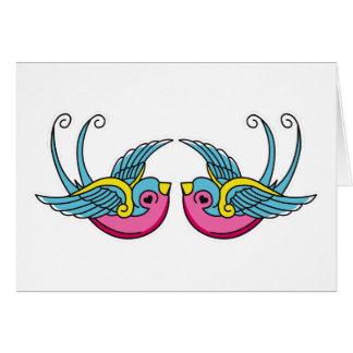 pink swallows greeting card
