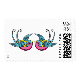 pink swallows postage