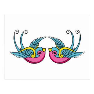 pink swallows postcard