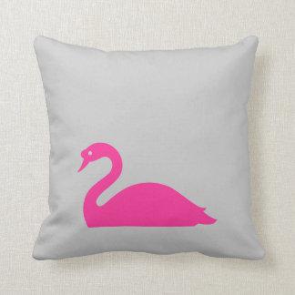 Pink Swan,Grey Throw Pillow