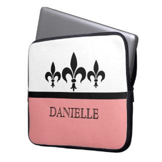 Pink Swanky Fleur De Lis Electronics Sleeve Laptop Sleeves