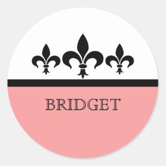 Pink Swanky Fleur De Lis Stickers