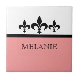 Pink Swanky Fleur De Lis Tile