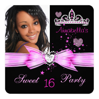 Pink Sweet 16 Birthday Diamond Tiara Photo 2 Card