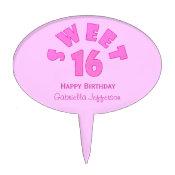 PInk Sweet 16 Cake Pick