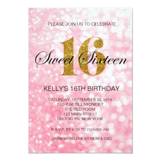 Pink Sweet 16 Gold Glitter Lights Invitation