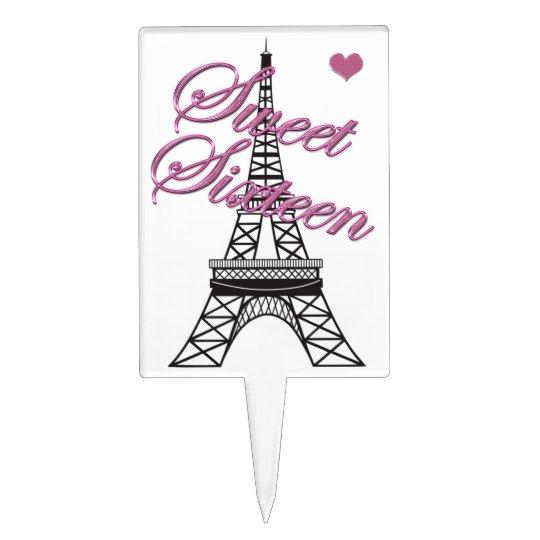 Paris Eiffel Tower Pillow 16 X 16: Pink Sweet 16 Paris Eiffel Tower Cake Topper