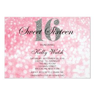 Pink Sweet 16 Silver Glitter Lights Invitation