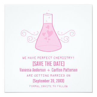 Pink Sweet Chemistry Save the Date Invite