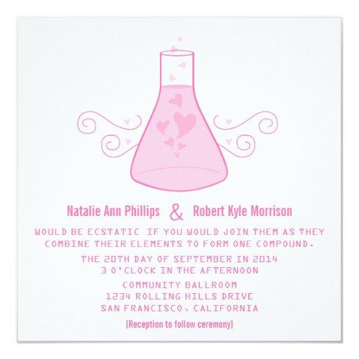 Pink Sweet Chemistry Wedding Invite