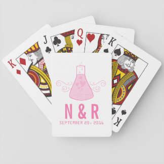 Pink Sweet Chemistry Wedding Playing Cards