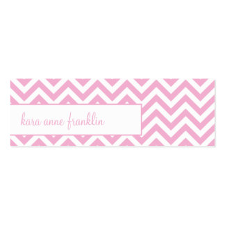 Pink Sweet Chevron Personalized Skinny Profile Car Mini Business Card