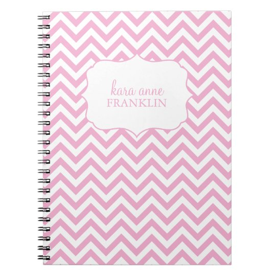 Pink Sweet Chevron Personalized Spiral Notebook