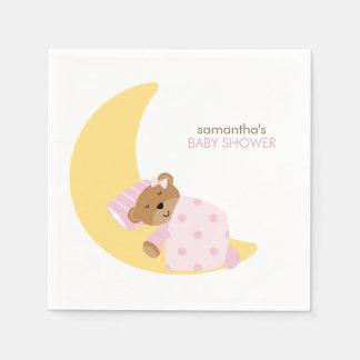 Pink Sweet Dreams Sleeping Teddy Bear Paper Napkin