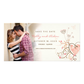 Pink Sweet Heart Butterfly Swirls Save The Date Card