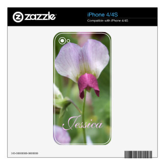Pink Sweet Pea Flower iPhone Skin *personalize* Decal For The iPhone 4