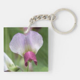 Pink Sweet Pea Flower Keychain