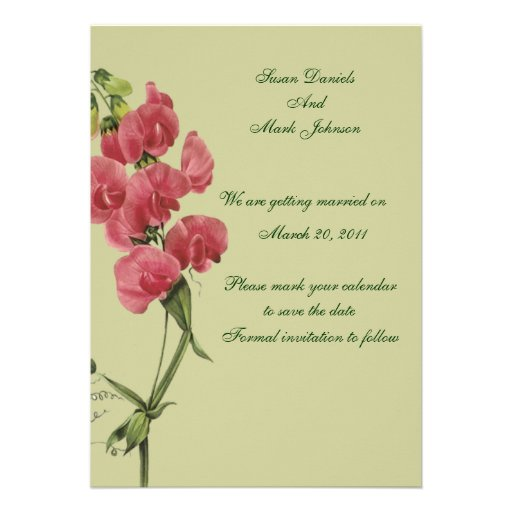 Pink Sweet Pea Flower Wedding Save The Date Custom Invite