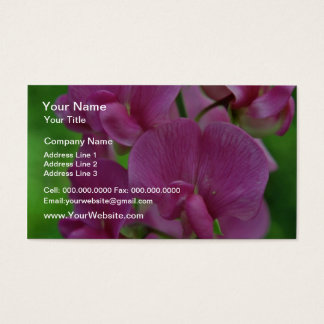 Pink Sweet Pea flowers Business Card