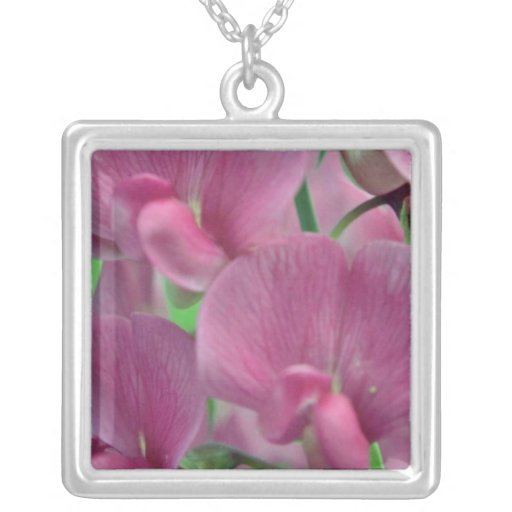 Pink Sweet Pea flowers Square Pendant Necklace