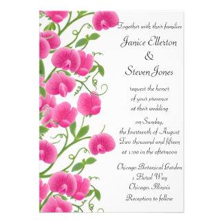 Pink Sweet Pea Flowers Wedding Invitation