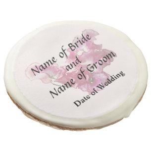 Pink Sweet Pea Heart Wedding Supplies Sugar Cookie