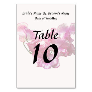 Pink Sweet Pea Heart Wedding Supplies Table Number