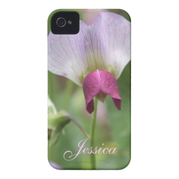 Pink Sweet Pea iPhone 4 Case *personalize*