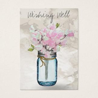 PINK SWEET PEAS MASON JAR WATERCOLOR WISHING WELL BUSINESS CARD