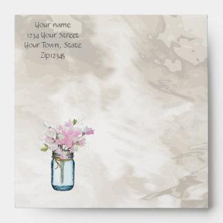 PINK SWEET PEAS VINTAGE MASON JAR WATERCOLOR ENVELOPE
