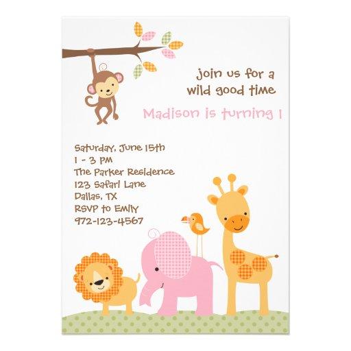 Pink Sweet Safari Invitations Custom Invites