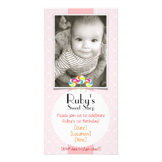 Pink Sweet Shop Lollipop Birthday Party Invitation Customized Photo Card