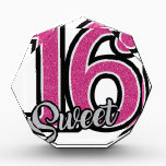 """Pink Sweet Sixteen Acrylic Award<br><div class=""""desc"""">Celebrate a wonderful sweet sixteen with this sparkling pink &amp; silver design!</div>"""