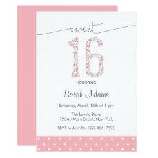 Pink Sweet Sixteen Birthday Invitation