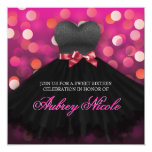 Pink Sweet Sixteen Black Dress Birthday Invitation
