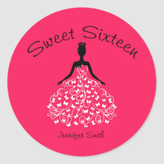 Pink Sweet Sixteen Butterfly Gown Envelope Seals